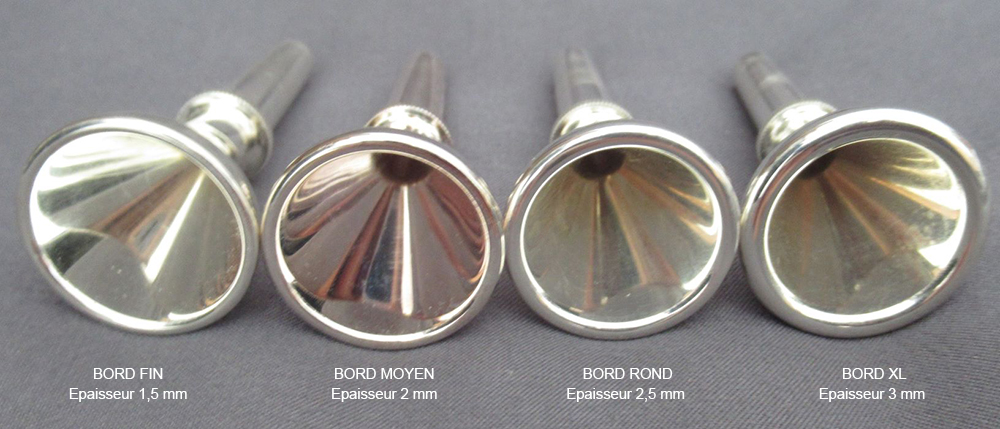 Embouchures trompe de chasse bords fin, moyen, XL